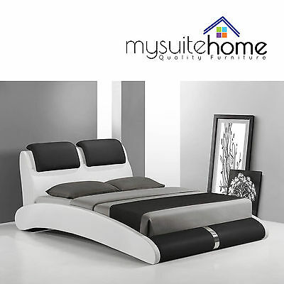 Marco Modern Matt White & Black King / Queen / Double Size PU Leather Bed Frame