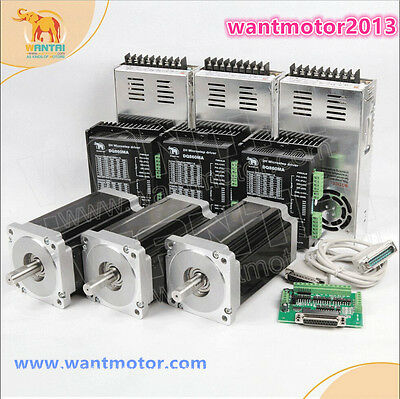 US Free! Wantai 3Axis Nema34 Stepper Motor Dual Shaft 1600oz-in&Driver 7.8A CNC