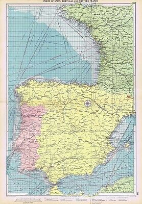 PORTS of SPAIN, PORTUGAL and WESTERN FRANCE - Large Vintage Marine Map 1952