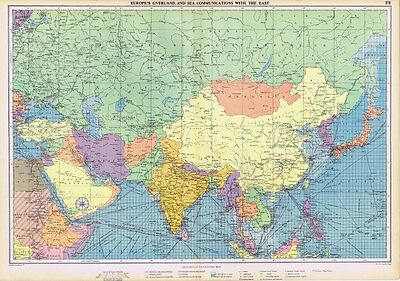 EUROPE's Land & Sea Communication With the East - Large Vintage Marine Map 1952