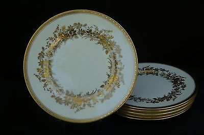 VINTAGE SET OF 6 MINTON BONE CHINA GOLD ENCRUSTED DINNER PLATES, CREAM X1020