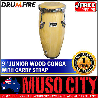 New Drumfire Junior Conga Bongo Hand Drum Cow Hide Head Percussion