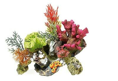 Coral on Rocks with Plants Aquarium Ornament Colourful Fish Tank Decoration