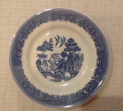 "Vintage Classic Blue Willow Saucer Marked""BUFFALO 9807C""~Pristine--5 3/8"""