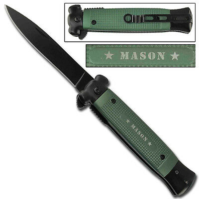 Striker Spring Assisted Green Masonic Stiletto Style Tactical Covert Knife