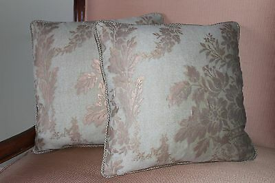 """PAIR OF FORTUNY PILLOWS, 14"""" X 14""""  SQUARE W/ZIPPERS"""" BOUCHER """" PATTERN."""