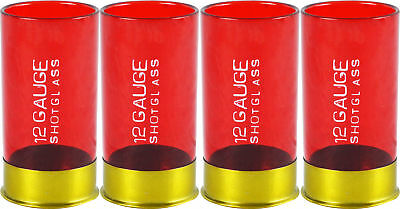 12 Gauge Shotgun Shell Shot Glass Set of Four Novelty Gag Gift Party Barware NEW