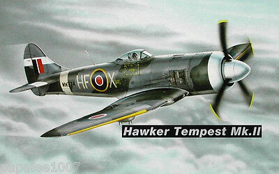 """Model Airplane Plans (UC): HAWKER TEMPEST MkII 31"""" 1/16 Scale for 3.5-5cc Engine"""