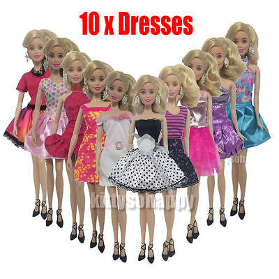 """10 PC Handmade Dress Evening Party Mini Gown Fashion Clothes For 11"""" Barbie Doll"""