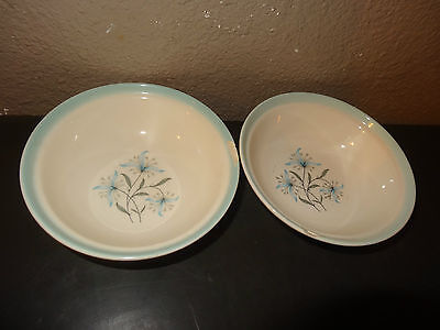 Vintage Bowl Blue Flower Classic 1950s Cunningham and Pickett AVALON