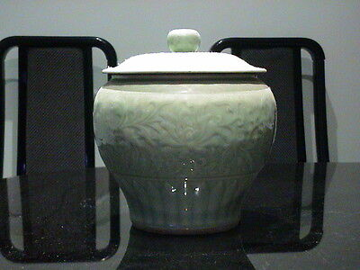 Chinese oriental Porcelain celadon urn with lid