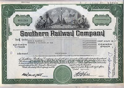 Southern Railway Company Stock Certificate Norfolk Railroad Virginia Green