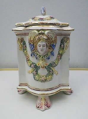 VINTAGE CAPODIMONTE POTTERY JAR FOOTED WITH CHERUBS HANDPAINTED CERAMIC ITALY