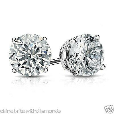 1 Ct Round Earrings Studs Brilliant Cut Screw Back Basket Solid 14K White Gold