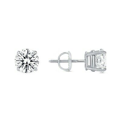 1.75 Ct Round Earrings Studs Solid 14K White Gold Brilliant Cut Screwback Basket