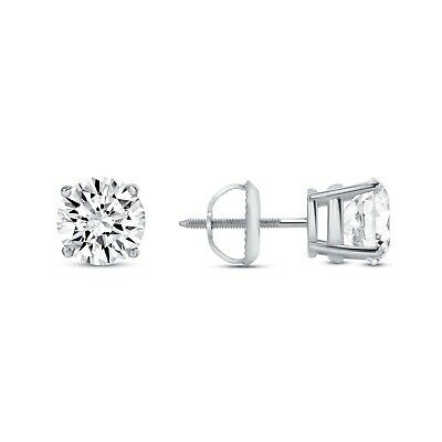 4 Ct Round Earrings Studs Solid 14K White Gold Brilliant Cut Screw Back Basket