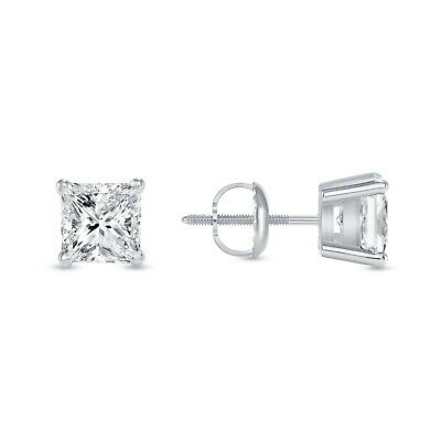 2.25 Ct Princess Earrings Studs Brilliant Cut Screw Back Solid 14K White Gold
