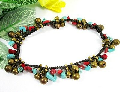 """10"""" ANKLET BACELET STONE ANKLE BRASS BEAD BELLS MULTI COLOR THAI HANDMADE ROPE W"""