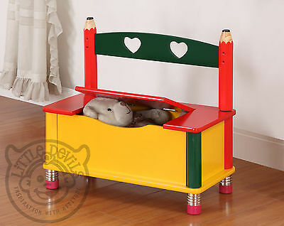 PENCIL THEMED CHILDREN​S BENCH/CHAIR/SEAT & TOY STORAGE BOX/CHEST for KIDS
