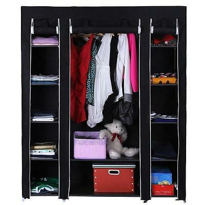 New Black Triple Canvas Wardrobe Rail Clothes Storage Bedroom Shelves