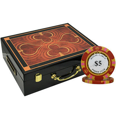 500 14G Monte Carlo Poker Club Chips Set High Gloss Wood Case