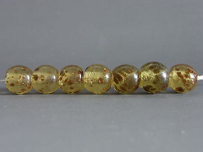 6 Vintage Transparent Copper  Crumb Chinese Peking Glass Trade BEADs #65
