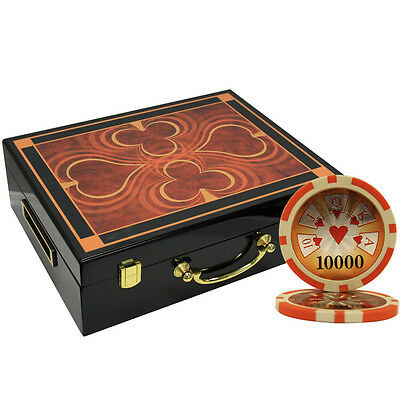 500 14 G High Roller Clay Poker Chips Set High Gloss Wood Case