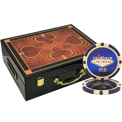 500 14G Las Vegas Laser Clay Poker Chips Set High Gloss Wood Case Custom Build