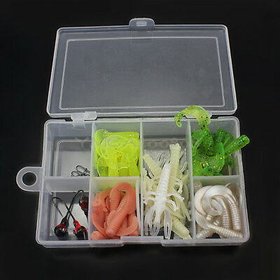50Pcs Soft Fishing Lures Tackles Worm Grub Bait Jig Lead Head Hooks Kit Box