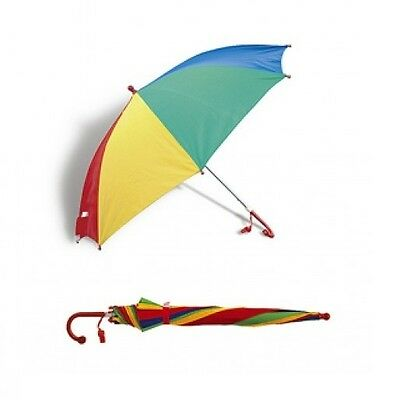 Kids / Children Multi Coloured Rainbow Umbrella Bright Rain Brolly + Whistle New