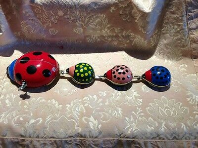 Mechanical Lady Bug Family Parade Wind Up Toy Made in Tawin Republic of China