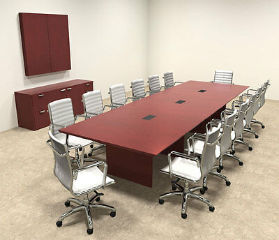 WOOD MODERN RECTANGULAR Shaped Feet Conference Table OFTECC - 14 foot conference table