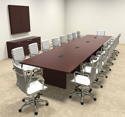 WOOD MODERN RECTANGULAR Shaped Feet Conference Table OFTECC - 18 foot conference table