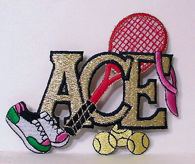 """Package of 4 Embroidered Ace Tennis Happy Appliques NIP 4""""W"""