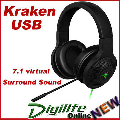 Razer Kraken USB Essential Surround Sound Gaming Headset for PC Mac PS4