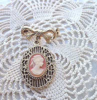 Vintage Beautiful Filigree Cameo Brooch Pin C. Mid Century