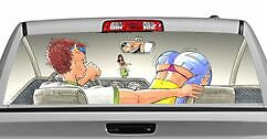 Truck Rear Window Decal Graphic [Search for Spare Change] 20x65in DC36507