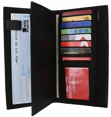 Genuine Leather Checkbook Cover Wallet Organizer with Credit Card Holder 253bk