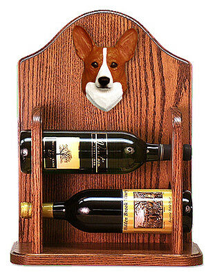 Welsh Corgi Pembroke Dog Wood Wine Rack Bottle Holder Figure Red - 2 Bottles ...