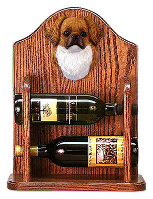 Tibetan Spaniel Dog Wood Wine Rack Bottle Holder Figure Red - 2 Bottles - Dark