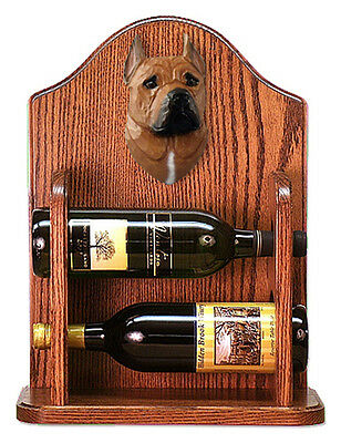 Staffordshire Terr Dog Wood Wine Rack Bottle Holder Figure Red - 2 Bottles - ...