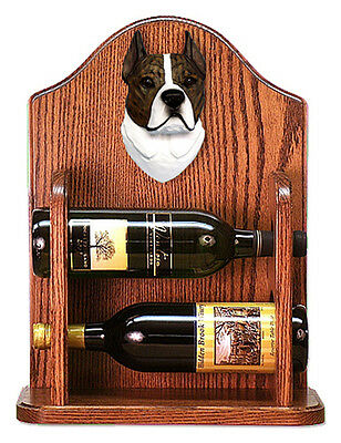 Staffordshire Terr Dog Wood Wine Rack Bottle Holder Figure Brin/Wht - 2 Bottl...