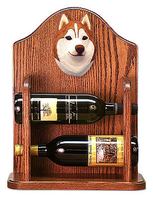 Siberian Husky Dog Wood Wine Rack Bottle Holder Figure Red/Wht - 2 Bottles - ...