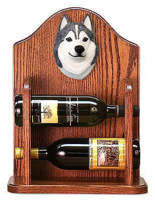 Siberian Husky Dog Wood Wine Rack Bottle Holder Figure Grey/Wht - 2 Bottles -...