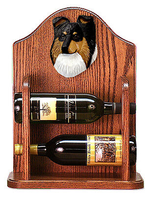 Sheltie Wood Dog Wood Wine Rack Bottle Holder Figure Tri - 2 Bottles - Dark