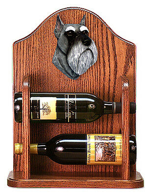 Schnauzer Dog Wood Wine Rack Bottle Holder Figure Salt/Pep - 2 Bottles - Dark