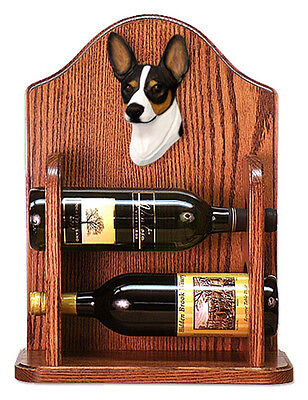Rat Terrier Dog Wood Wine Rack Bottle Holder Figure Tri - 2 Bottles - Dark