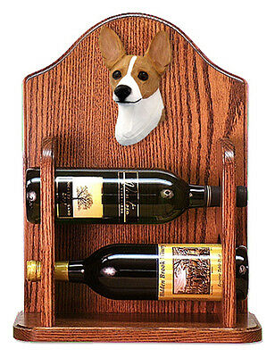 Rat Terrier Dog Wood Wine Rack Bottle Holder Figure Red - 2 Bottles - Dark