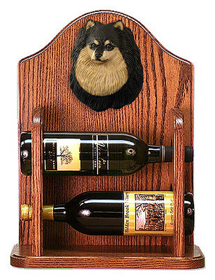 Pomeranian Dog Wood Wine Rack Bottle Holder Figure Blk/Tan - 2 Bottles - Dark