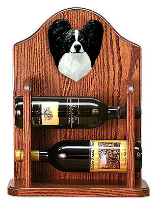 Papillon Dog Wood Wine Rack Bottle Holder Figure Blk/Wht - 2 Bottles - Dark